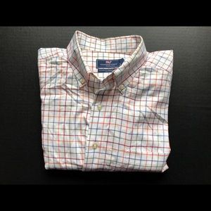 Vineyard Vines WHITE Check Murray L/S Shirt Cotton